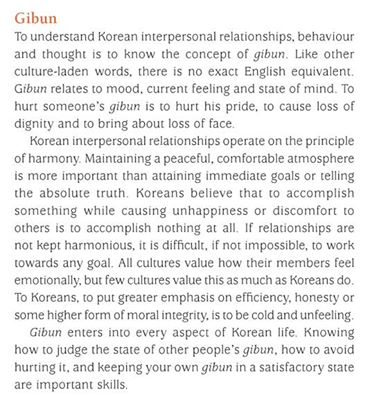 Extrait de CultureShock! Korea: A Survival Guide to Customs and Etiquette Par Sonja Vegdahl & Ben Seunghwa Hur posté sur les réseaux sociaux au début du séjour.